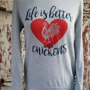 Life With Chickens Tunic Sweatshirt With Braided Side