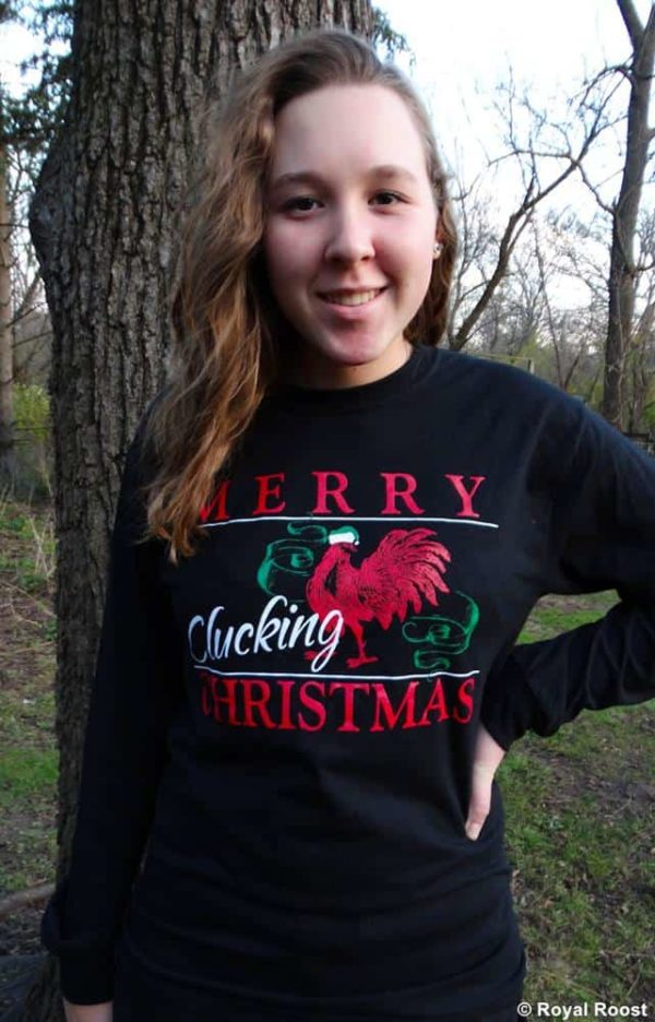 Merry Clucking Christmas long sleeve black t-shirt front