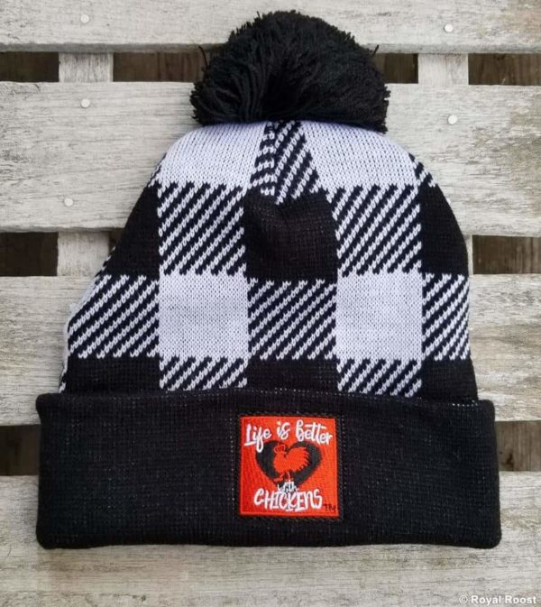 Life is Better with Chickens White Black Plaid Winter Cap