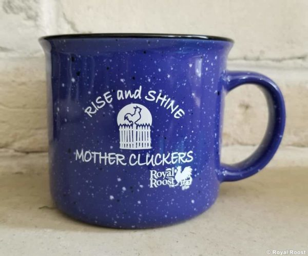 Royal Roost Rise and Shine Mother Clucker blue mug