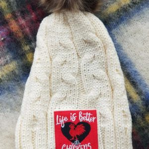 Life with Chickens Knit Hat with Fur Pom in Cream