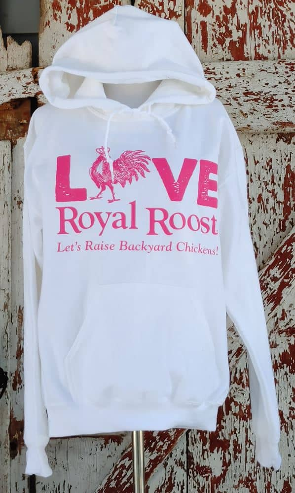 Chicken Love/Pets with Benefits Royal Roost white and pink Sweatshirt front