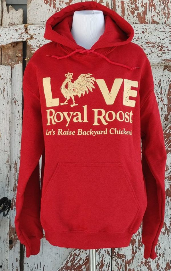 Chicken Love/Pets with Benefits Royal Roost red and cream Sweatshirt front